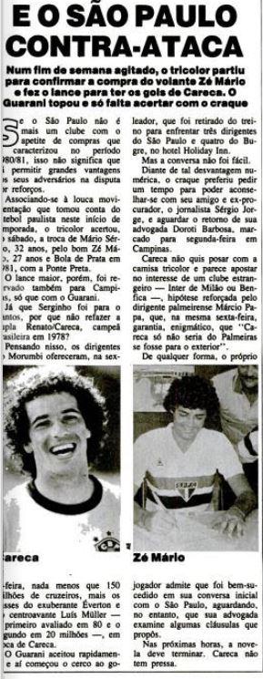 Reportagem da Revista Placar em Janeiro de 1983