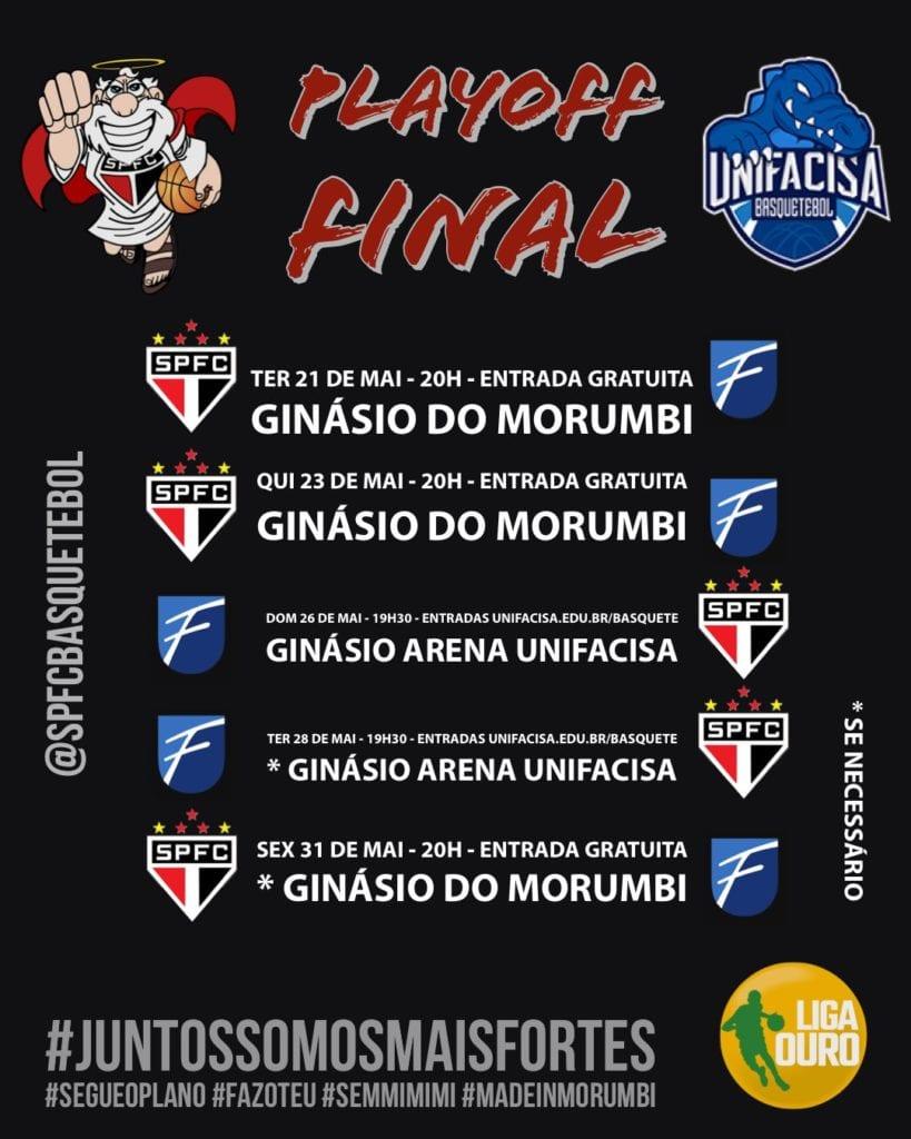 Calendário de jogos das finais da Liga Ouro