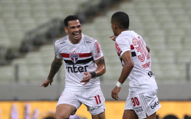 Brenner e Luciano marcaram os gols do SPFC contra o Fortaleza